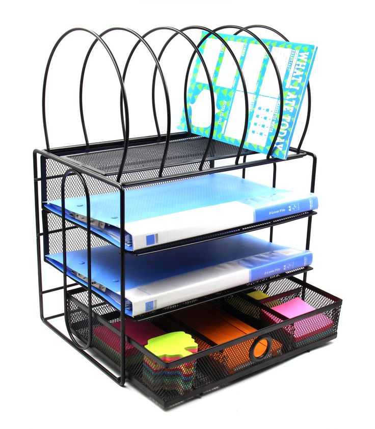 EasyPAG Mesh Desk File Organizer 3 Tier Tray with 5 Letter Sorter and Drawer , Black