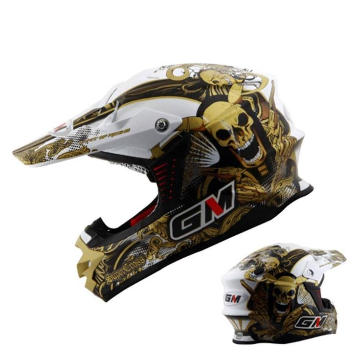 Black Gold Skull Dot Dirt Bike Motocross Off Road Atv Helmet
