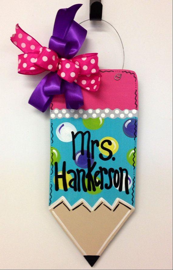 SALE: Teacher, Pencil Door Hanger // Teacher Door Hanger Door Decoration // Leopard // Zebra // Giraffe // Polka Dots