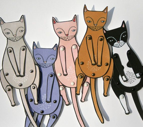 kitty cat moveable paper doll calico von JordanGraceOwens auf Etsy