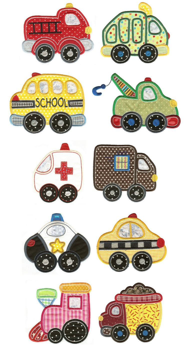 dibujos autos camiones barcos trenes Embroidery | Free Machine Embroidery Designs | Getting Around Applique Set 1