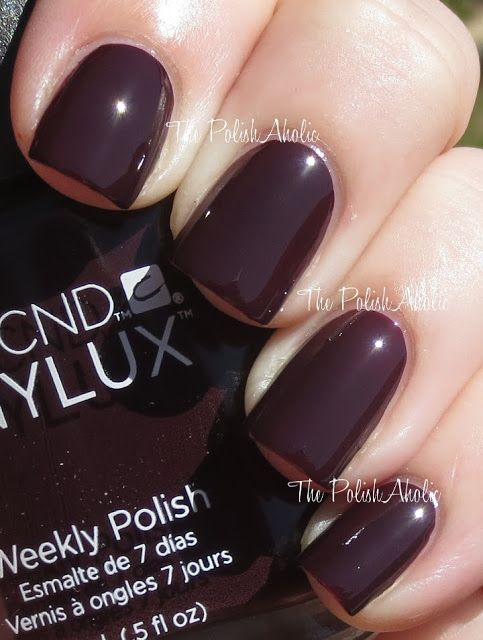 CND Fedora Shellac Nail Polish color. Beautiful. Deep, rich vampy red with brownish undertones. Love!