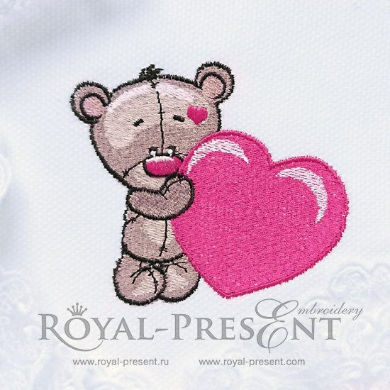 Machine Embroidery Design Teddy Bear With Heart 2 Sizes