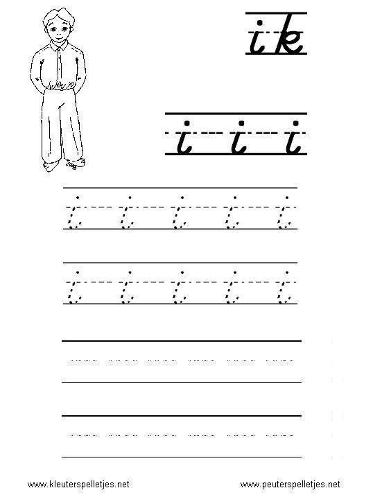 LETTER I | letters leren herkennen en schrijven, alfabet printbladen a t/m z