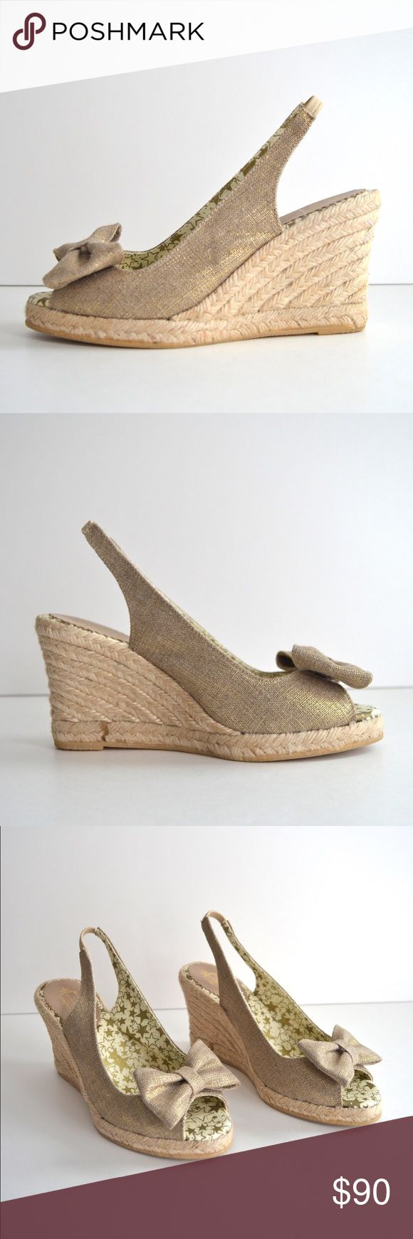 """NIB Lulu Guinnes Metallic Espadrille Wedges These Lulu Guinness espadrille peep toe wedges will add an understated feminine flair with classic bows and natural materials.   - Gold metallic canvas material  - Lined with a fun star patterned cotton fabric - Rubber soles - 3.5"""" heel - 3/4 inch platform - Elasticized slingback straps - Brand new condition and have never been worn, only tried on.  - Originally purchased at Neiman Marcus  ✅Bundles ❌Trades/Holds Lulu Guinness Shoes Wedges"""