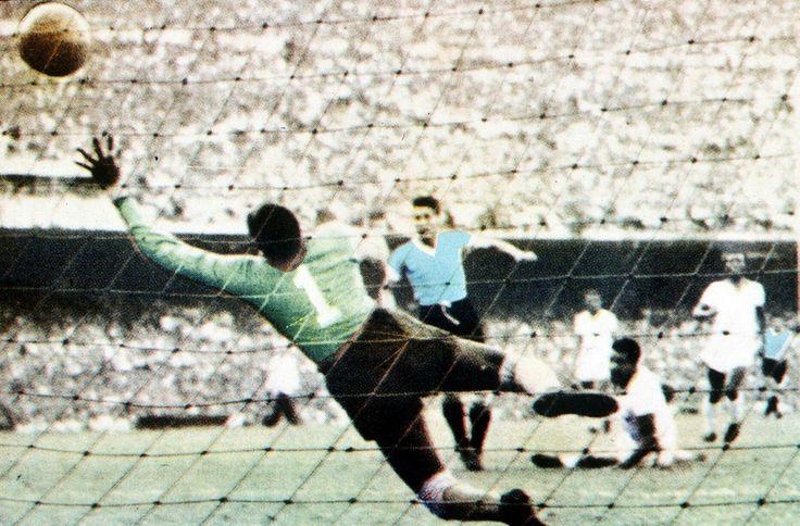 Uruguay 2 Brazil 1 in 1950 in Rio de Janeiro. Alcides Ghiggia scores the World Cup winning goal for Uruguay.
