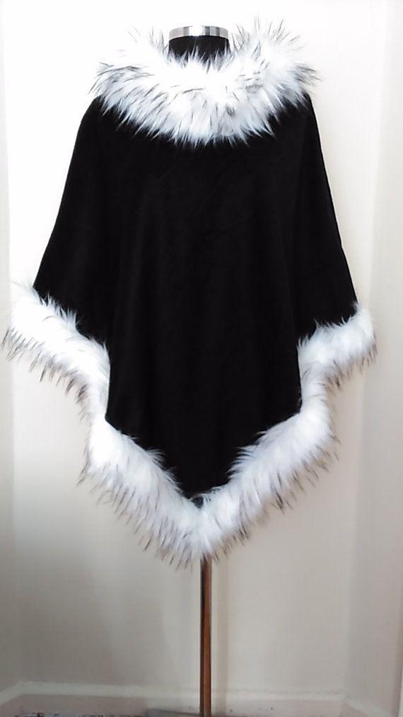 Faux Fur Hem Cape   Casual Women Winter Wool, Warm, Soft Black Poncho   Faux…
