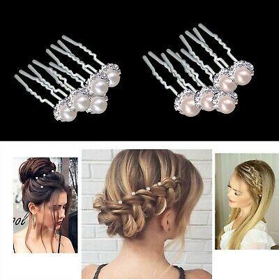 Ad(eBay Url) Pearl Flower Diamante Crystal Hair Pins Clips Prom Wedding Bridal Party HAR1011