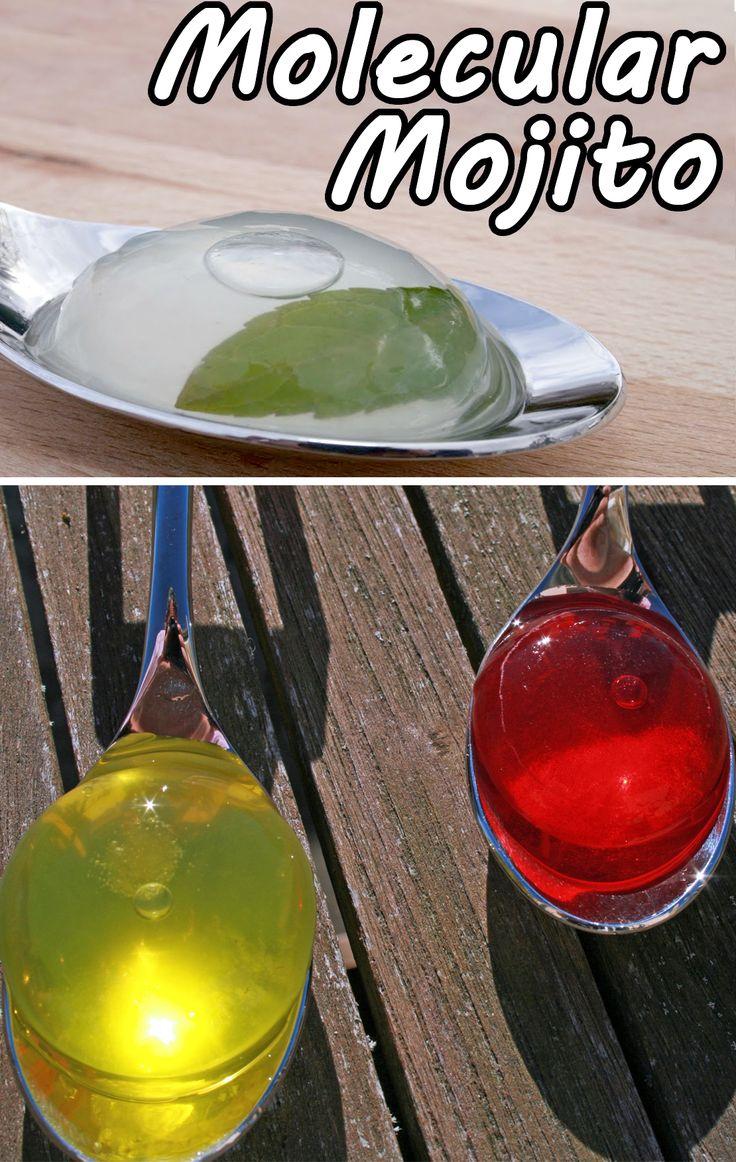 Molecular gastronomy mojito sphere.