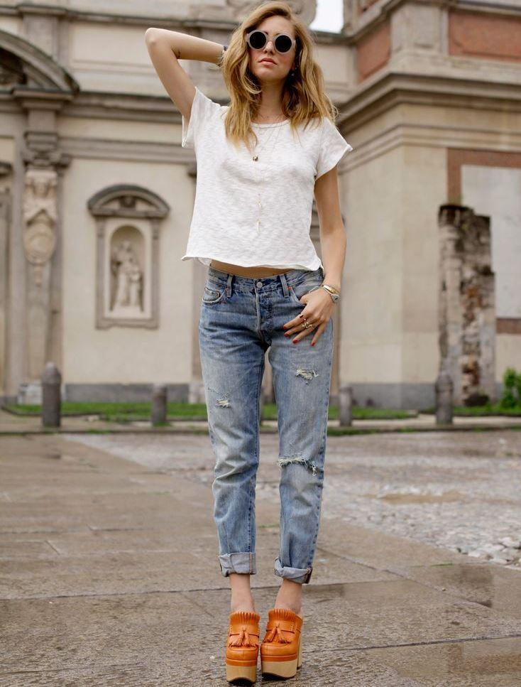 Стильный весенний #look от #Levis. Белый верх и светло-голубые джинсы #501CT. #SS15 #SummerSpring15 #LiveInLevis