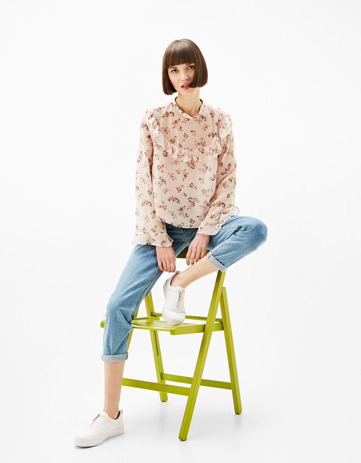 print blouse - Shirts - Bershka Thailand