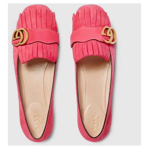 Gucci Suede Ballet Flat (3,555 CNY) ❤ liked on Polyvore featuring shoes, flats, foldable ballet flats, ballerina shoes, foldable flats, gucci flats and pink flats