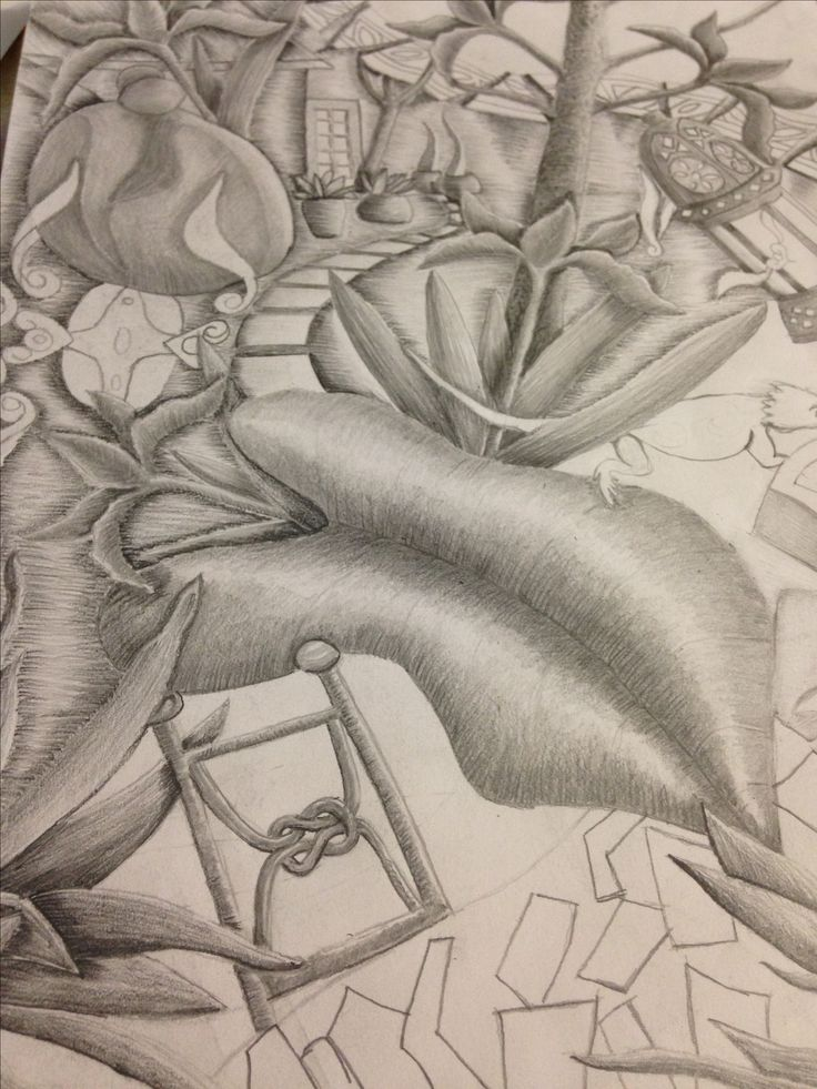 Part of larger work, pencil drawing.