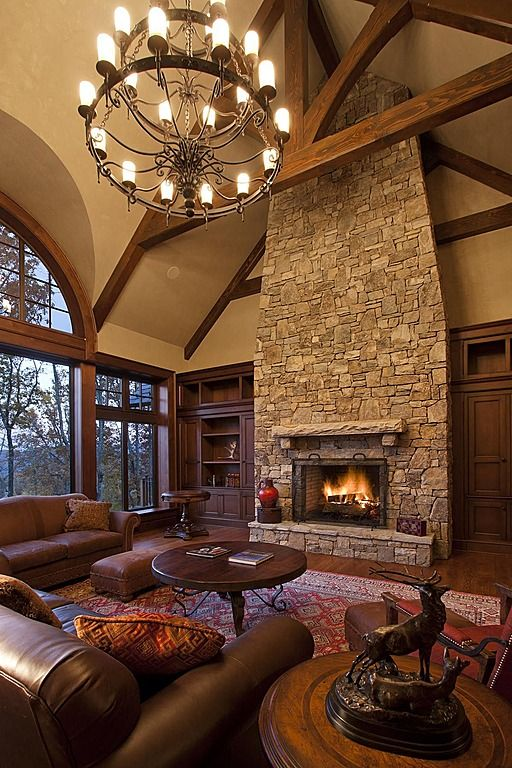 Amazing living room with fireplace - Deluxe Living Room Interiors