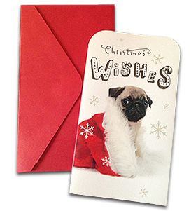 Christmas voucher holder card  Available at www.ilovepugs.co.uk post worldwide