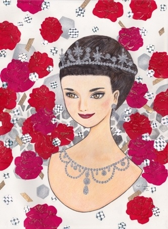 Yuki Crawford    Roman Holiday - Audrey Hepburn - 2012    Colour pencil, watercolour, acrylics, glitter, nail polish, origami, and holographic origami on paper    43 x 56 cm (framed)