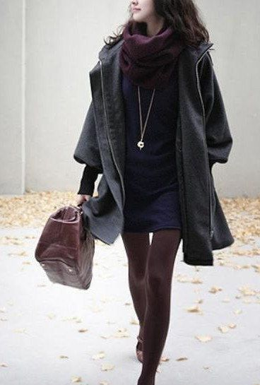 Grey Women Coat wool Jacket women dress Winter