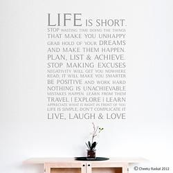 Life is Short Inspirational Quote Decal