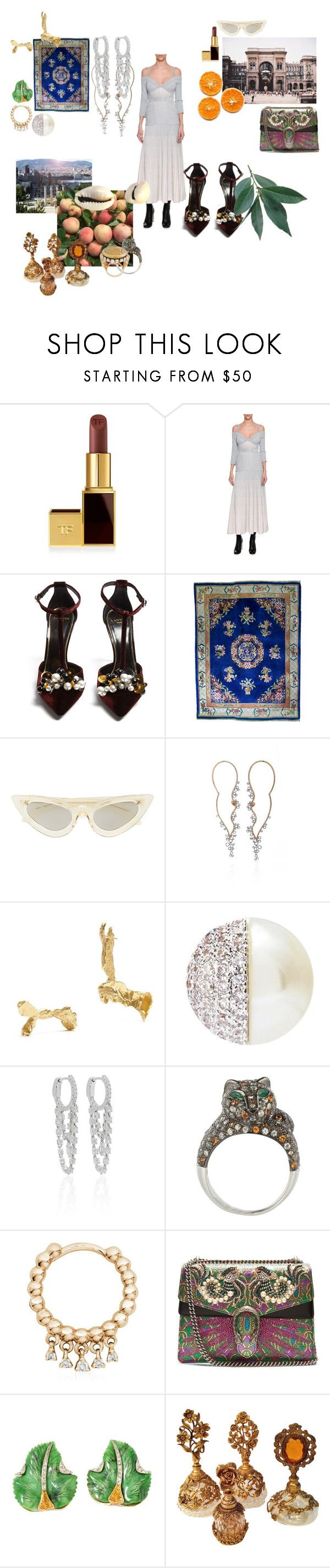 """""""monaco"""" by mymind-is-a-warrior ❤ liked on Polyvore featuring Tom Ford, Alexander McQueen, Lanvin, Kuboraum, Pieces, CZ by Kenneth Jay Lane, Anita Ko, Stone Paris, Gucci and Dolce&Gabbana"""