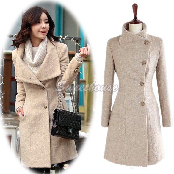 New fashion Women Winter Coat Jackets Collect Waist Worsted Long Sleeve Medium Long Overcoat Woollen Coat B16 7474 alishoppbrasil