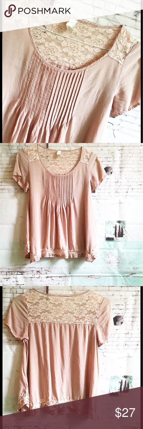 "Pintucked Short Sleeve Top PALE PINK Smock Top Unknown brand and Size Three quarter sleeve button up.  Lace panel down the front.  Underarm to underarm is 22"" and top is 22"" long.  Guessing it to be M/L Unknown Tops"