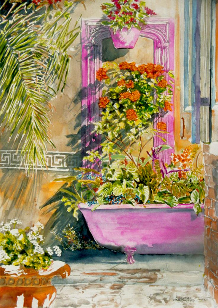 "seclcuded backyard garden new orleans 22"" x 14""   micheal zarowsky - watercolour on arches paper available 750.00 (unfr)"