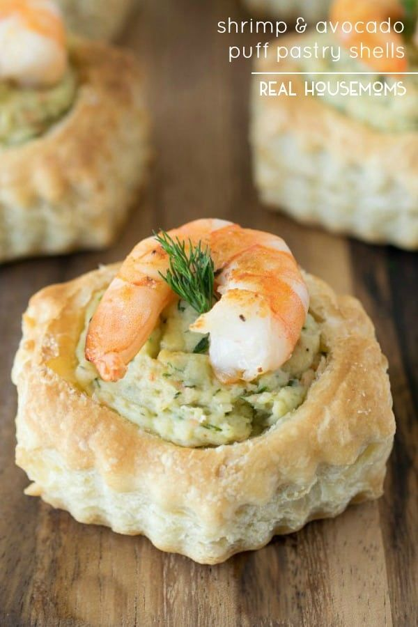 SHRIMP & AVOCADO PUFF PASTRY SHELLS are an easy appetizer with serioues wow factor! #Realhousemoms #Shrimpavocadopastry #Pastrypuff #Appetizer #Newyearsparty