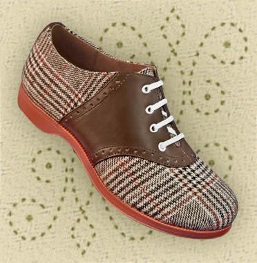 I want these shoes for swing!   (Aris Allen 1950s Womens TwoTone Brown Plaid Saddle Shoes)