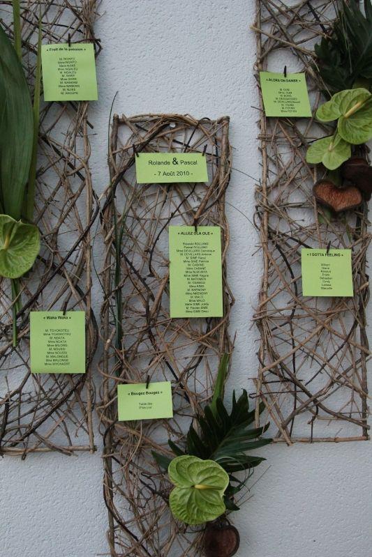 Plan de table végétal, mariage nature et exotique
