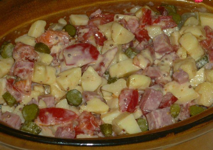J'adore la salade piémontaise mais celle du commerce est bien trop grasse . Depuis que j'ai testé celle ci, elle revient souvent sur notre table en été . Et pourquoi pas ce soir ? J'ai tout ce qu'il faut #Pommes de terre #Tomates #Jambon . Recette extraite...