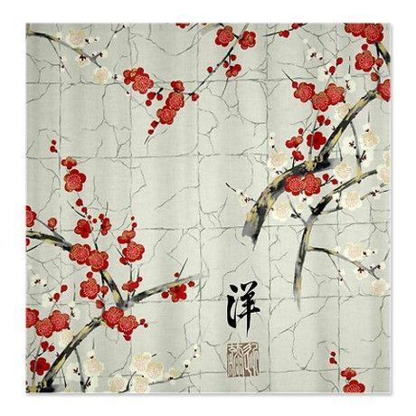 Red Oriental Art Shower Curtain