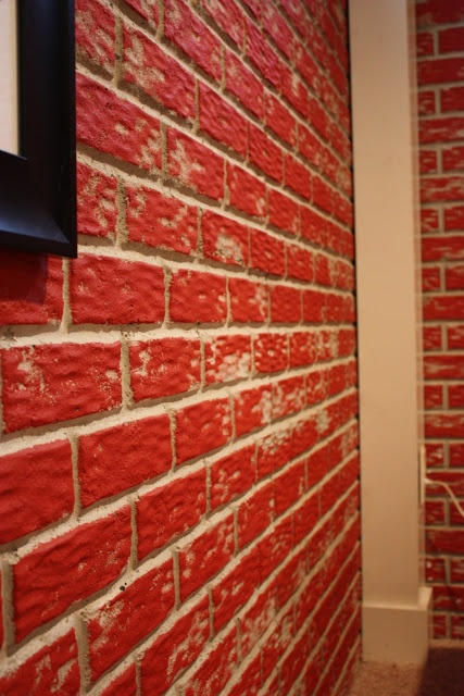 Painting Concrete Walls - this is perfect for our basement that has stamped brick concrete walls!!!!!