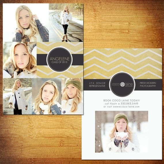 5x7 Senior Rep Cards PSD Template  Yellow Zig by KayleeBugDesign, $10.00