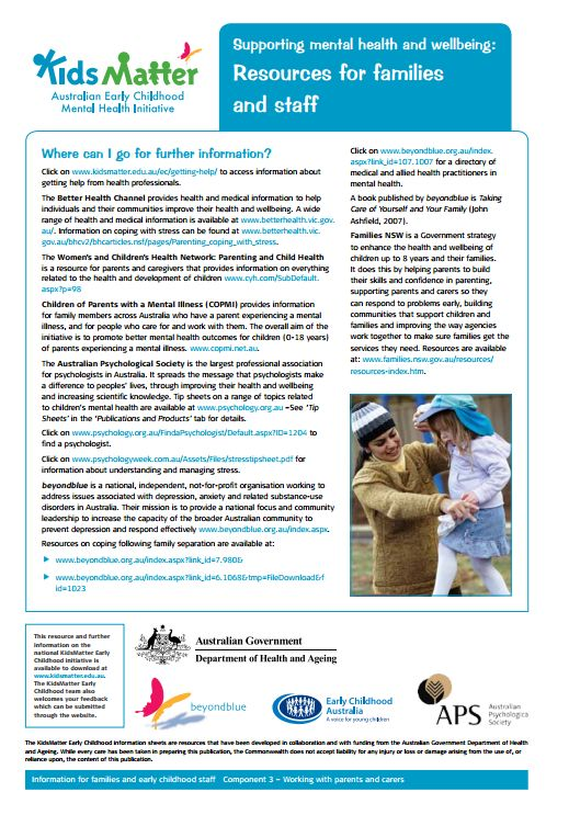 Partnerships with families...Top Tips: Supporting mental health and wellbeing: Resources for families and…
