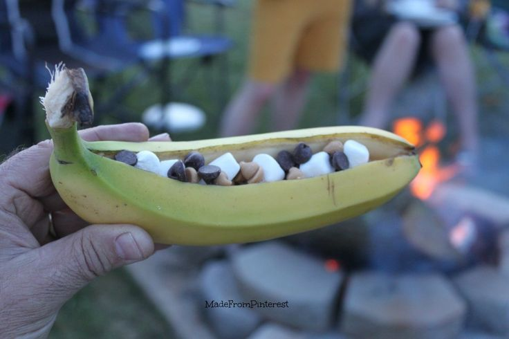 Filled Banana Boat ready to cook. Banana Boat Tutorial from sisters at MadeFromPinterest