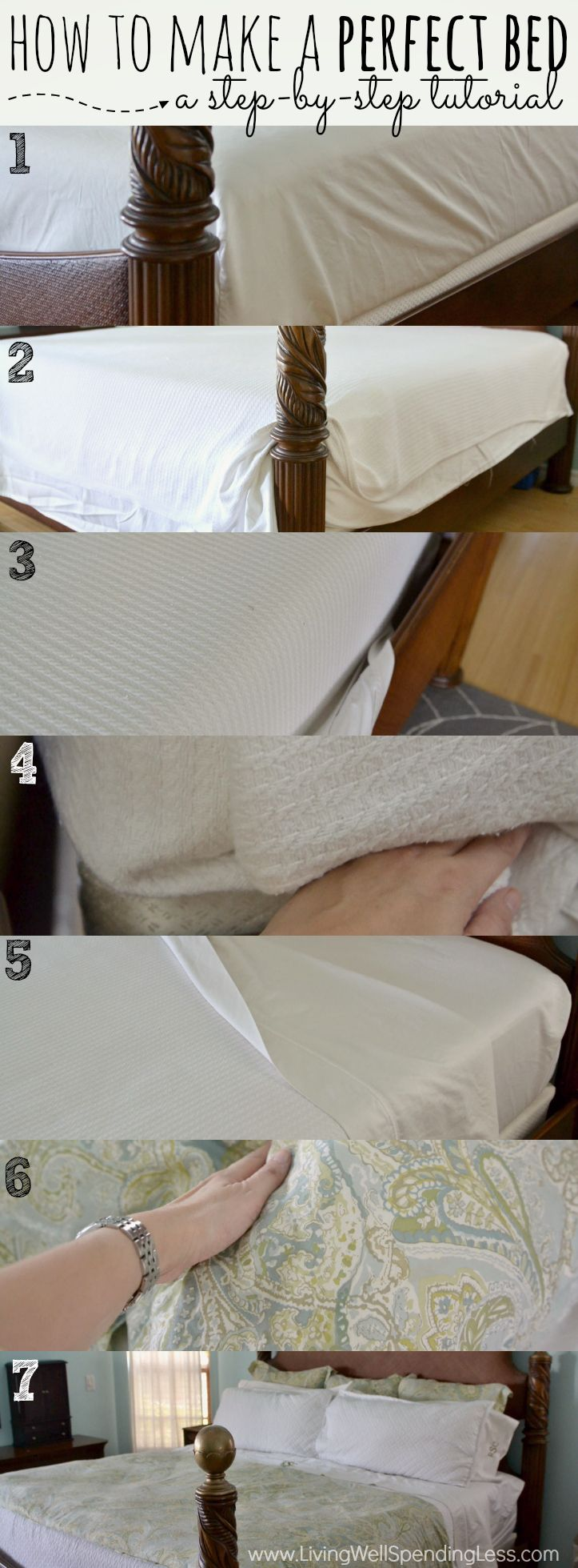 Ever wondered exactly how to get your bed just right?  Don't miss this step by step tutorial for making the perfect bed from a true bed-making expert!  It might just be the best night's sleep you ever have!