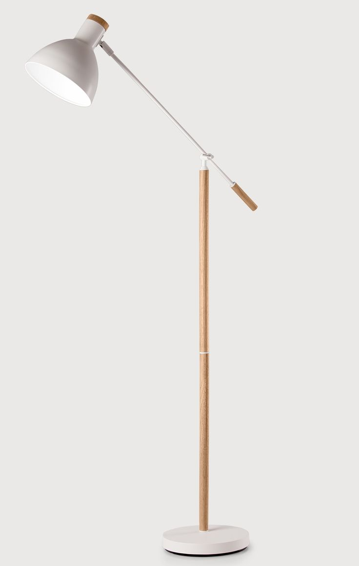 Cohen Floor Lamp in Ash and White. A contemporary mix of wood and white, with nudges to the New Nordic style. £99. MADE.COM