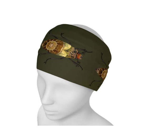 Green Headband Brown Bugs Insects Printed Womens Yoga Hair