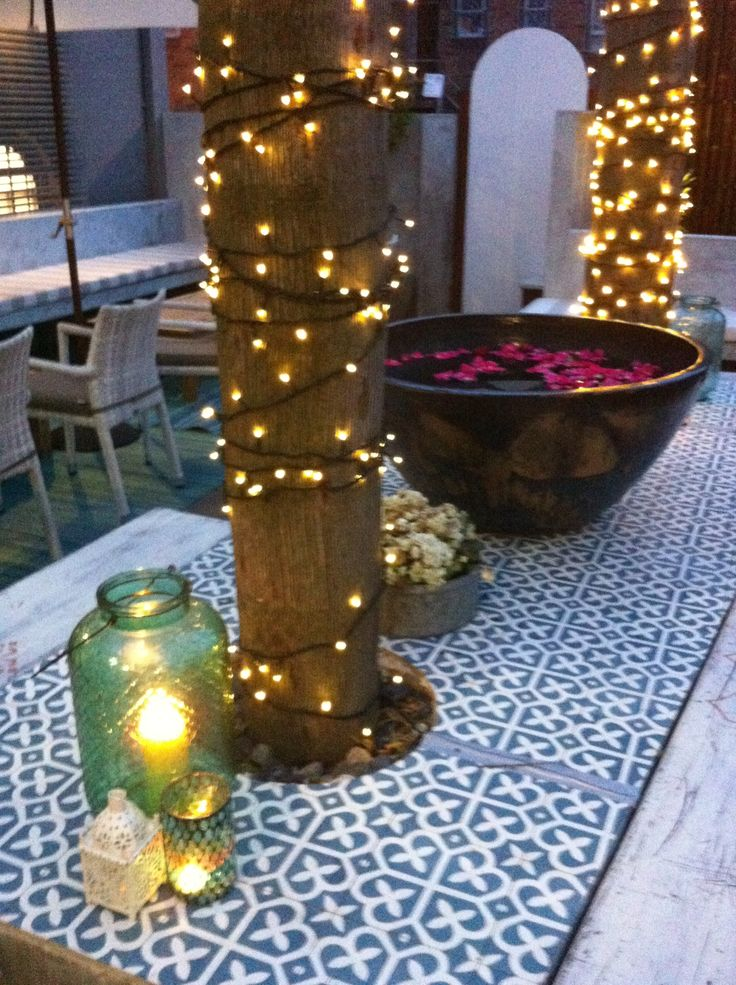 rose petals, moroccan tiles, lanterns and fairy lights at Moorish Blue Sydney