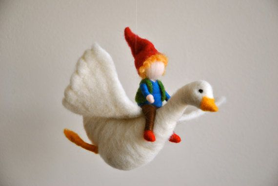 Children Mobile Waldorf inspired needle felt: The Boy and the goose Nils Holgersson's story on Etsy, $80.00