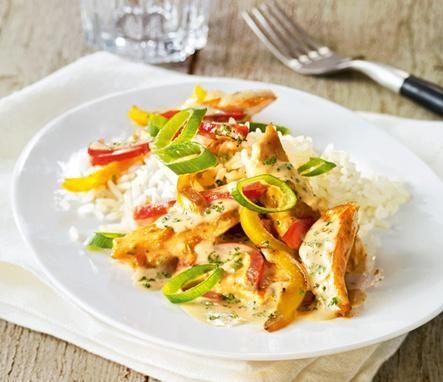 Pikante+Pfanne+mit+Hähnchen+und+Paprika,+besonders+lecker+zu+Reis