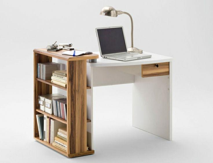 MALY Schreibtisch mit Anstellregal weiß/Baltimore-walnut