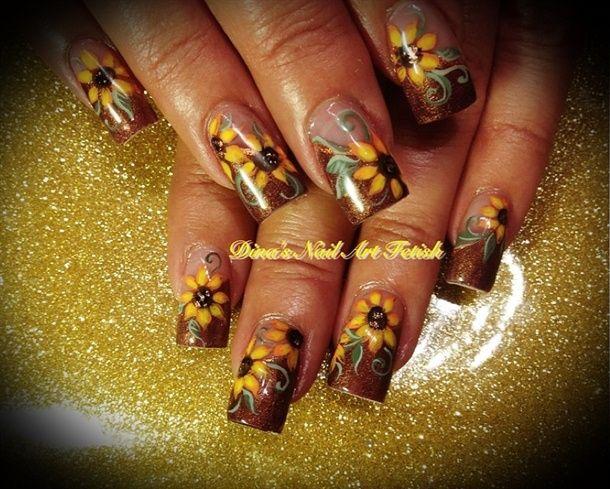 Fall Sunflowers 2012 - Nail Art Gallery nailartgallery.nailsmag.com by nailsmag.com