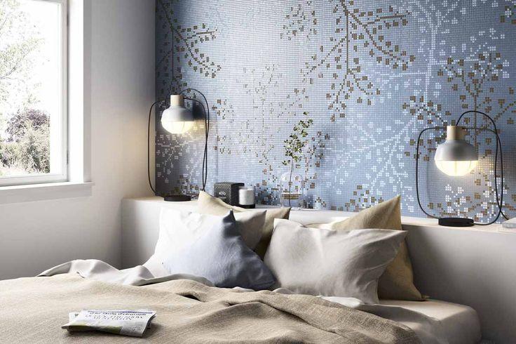 Mosaico+ Decor Collection - Gypso Blue  #mosaicopiu #glass #mosaic #glassmosaic #mosaico #vetro #bedroom #decoration #flowers #design #ikos #madeinitaly