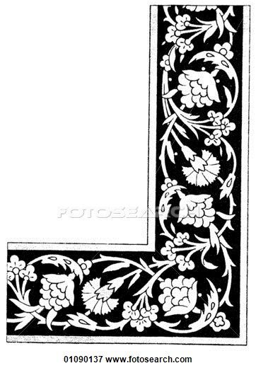 line art Persian Tile Panels (1500-1700)