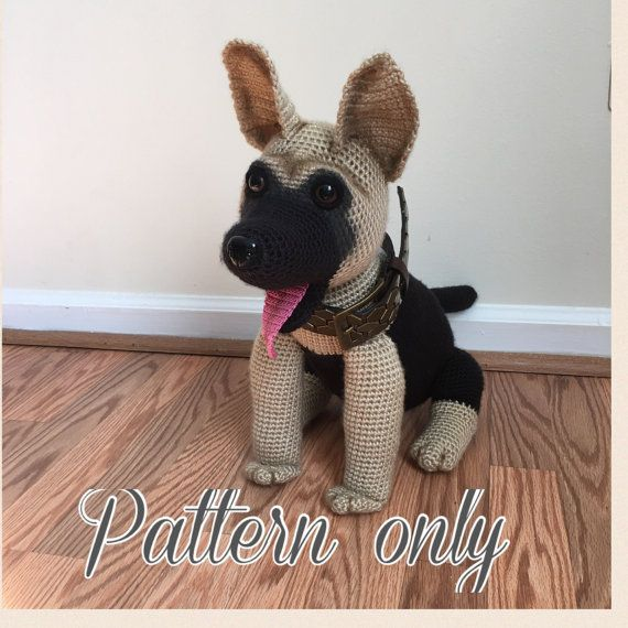 Modello di pastore tedesco cane crochet PDF di Ambercraftstore