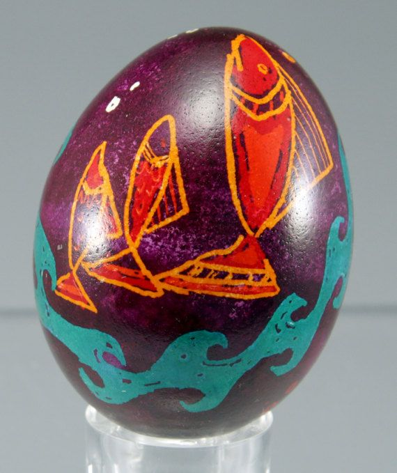 Pisces Fish Pysanka Easter Egg Hand Drawn & Hand Dyed