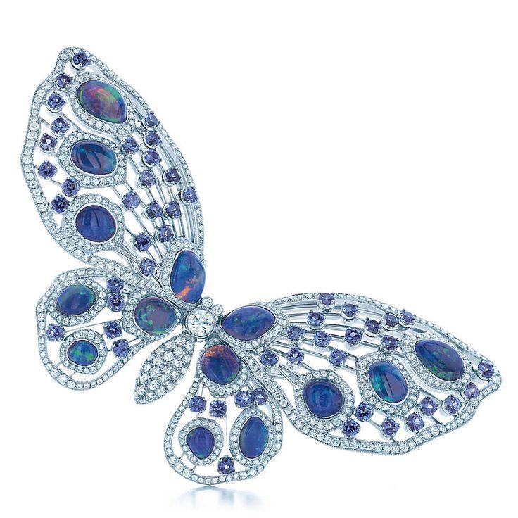 Broche Butterfly com Safira Montana e Opala Negra