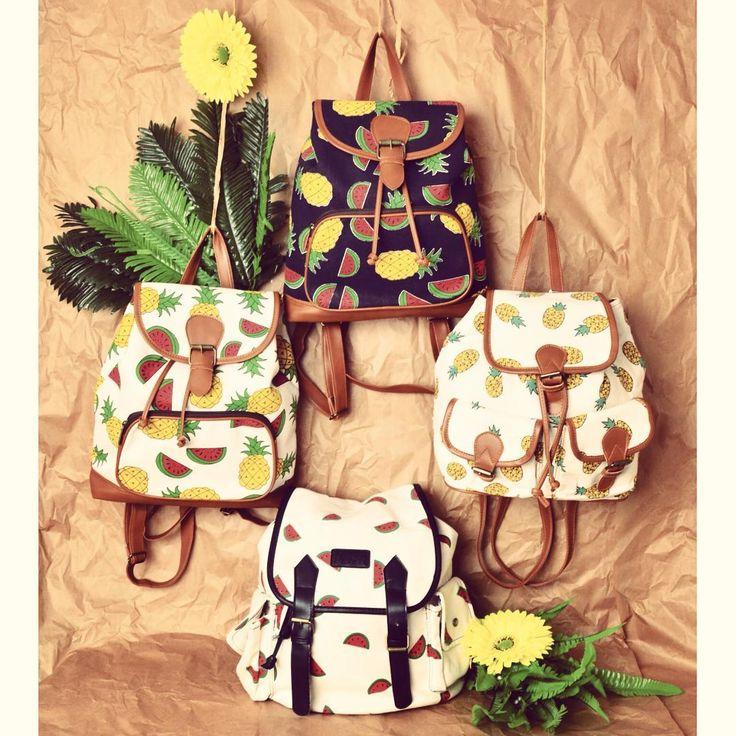 Tutti-frutti  #szputnyik #szputnyikshop #budapest #fruity #backpack #collection #ss16 #canvas #bags #tropical #style #watermelon #pineapple #ananas #fruits #yummy