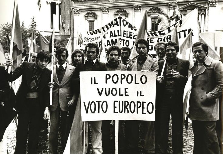 Demonstration during the European Council meeting in Rome calls for direct elections of the European Parliament, 1975.